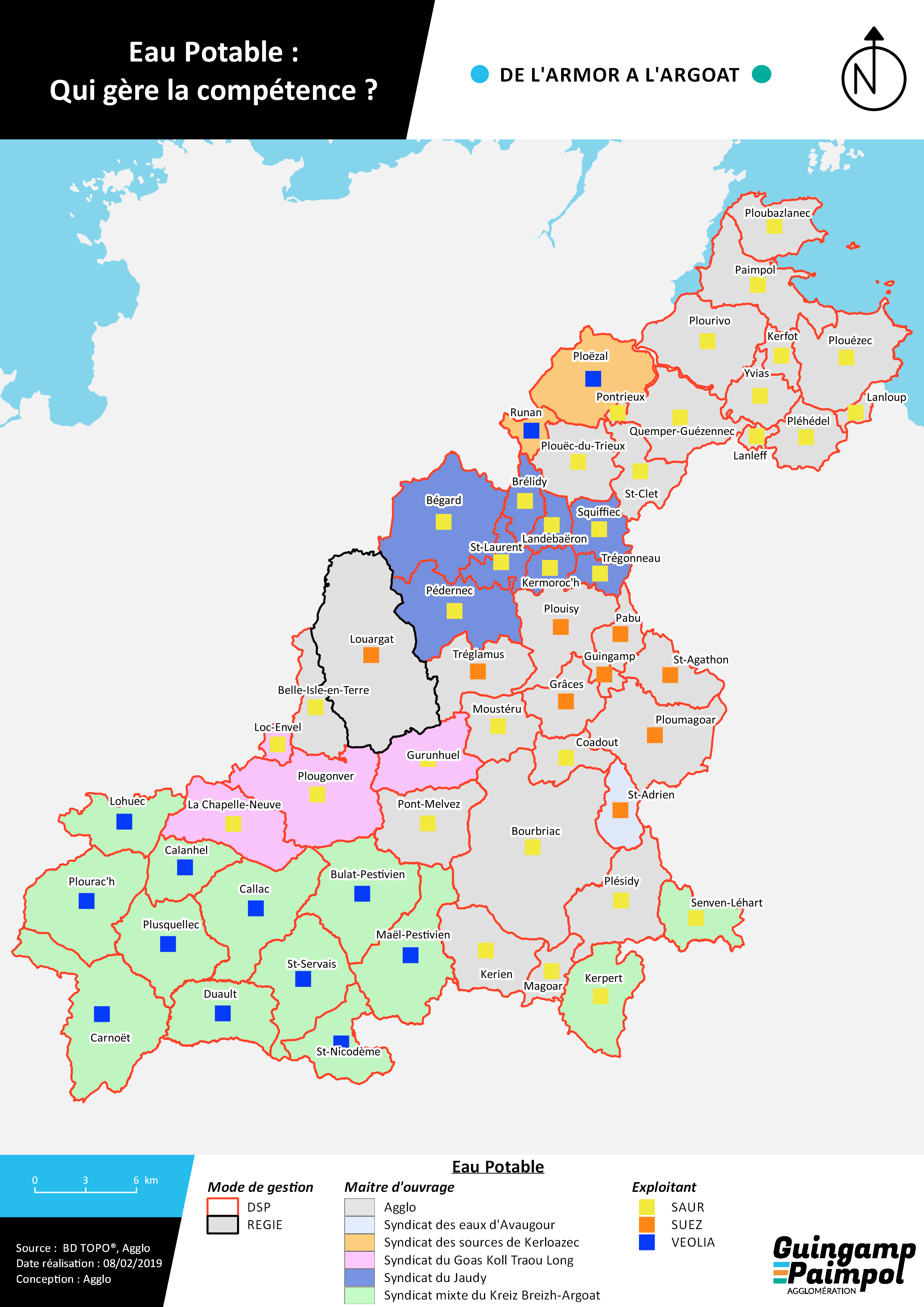 Carte cartographie AEP Eau Potable qui gère la compétence Agglo, syndicats, SAUR SUEZ VEOLIA