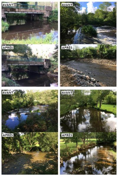 Photos avant et après des travaux réalisés à la pisciculture de Tréméven
