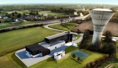 Projection de l'usine de production d'eau potable de la Petite Tournée à Yvias